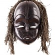 Black tribal face mask on isolated on white — Stock Photo