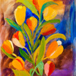 Tulips painting in acrylic by Kay Gale - Stock Photo