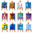 Stock Photo: Twelve mini paintings on easels isolated on white