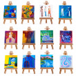 Twelve mini paintings on easels isolated on white — Stock Photo