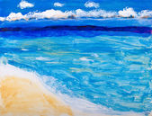 Beach and ocean vacation painting — Stock Photo
