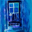 Blue door painting by Kay Gale — Stock Photo