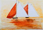 łodzie żaglowe, malarstwo w orange — Zdjęcie stockowe