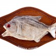Stock Photo: Piranhfish as trophy on wood isolated