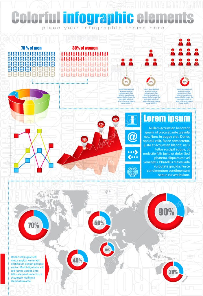 Infographic elements with maps, charts and icons — Stock Vector #9219689
