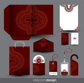 Stationery set design with ancient ornament — Stock Vector