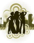 Silhouettes femme avec fond urbain rétro — Vecteur