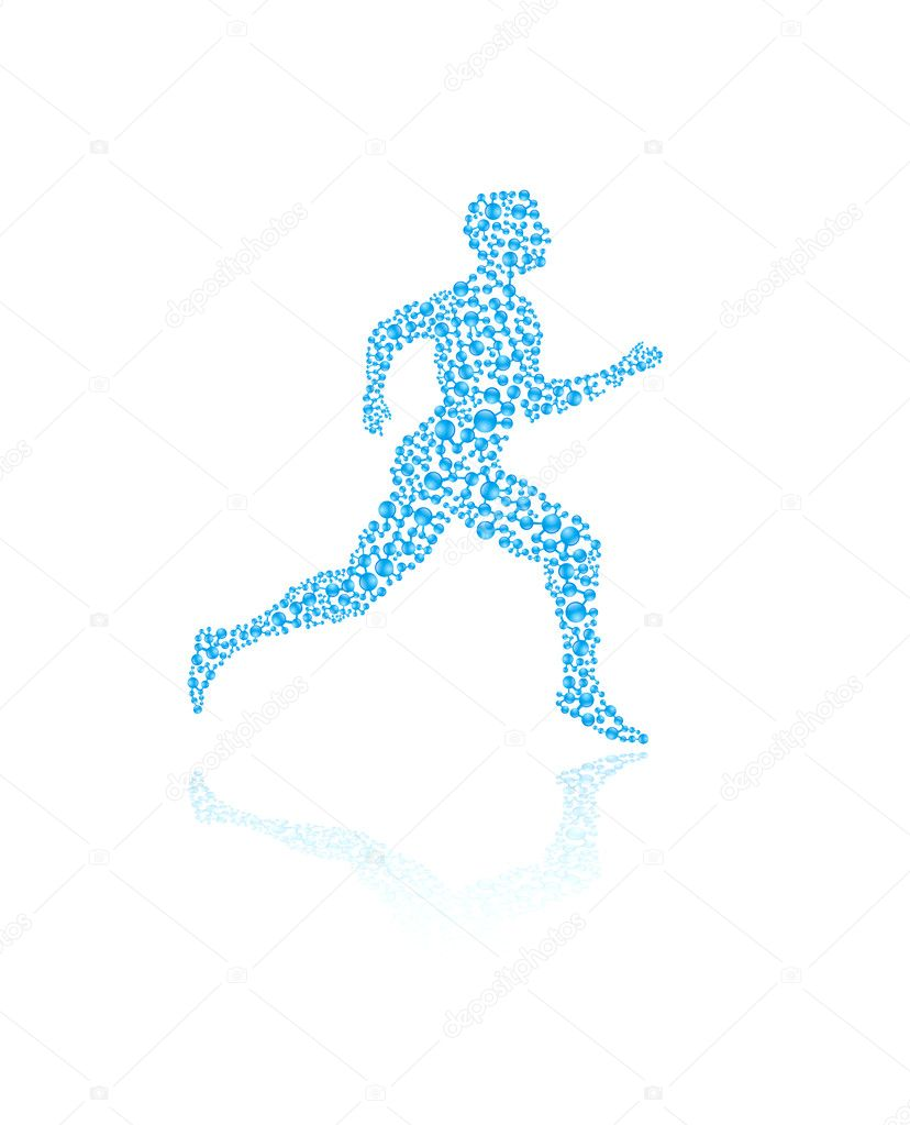 Jogging human silhouette in vector format for medical concepts — Imagen vectorial #9585043