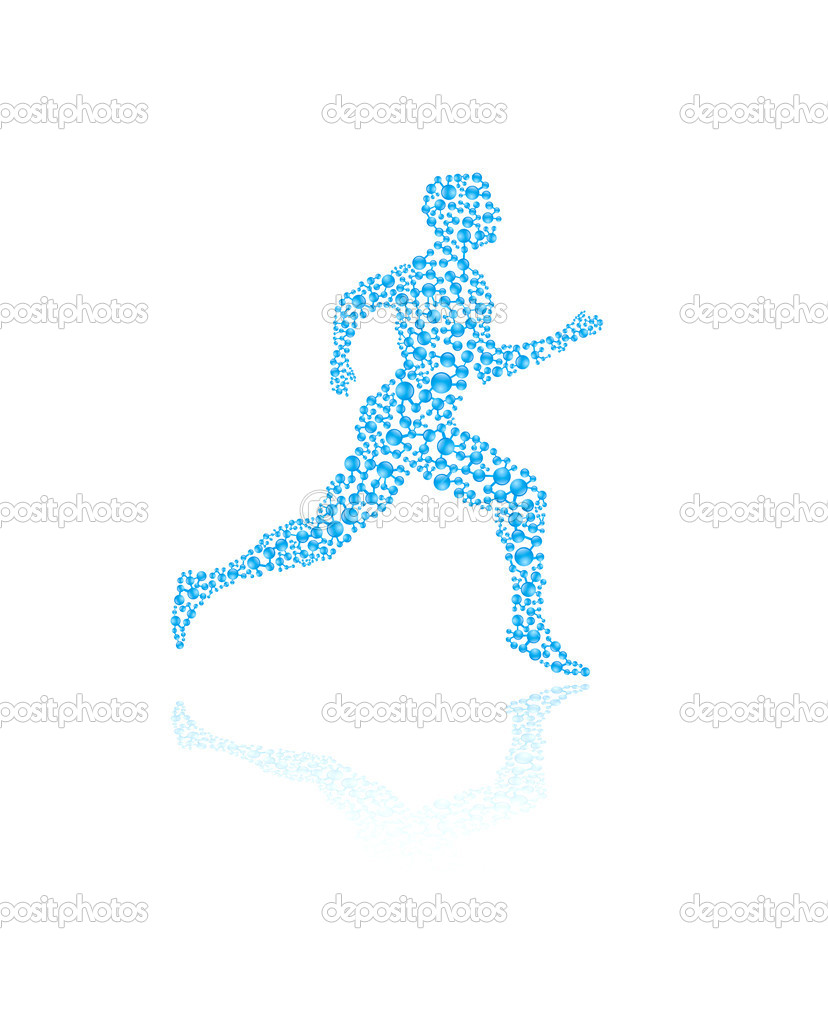 Jogging human silhouette in vector format for medical concepts — Stockvectorbeeld #9585043