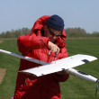 Man assembly RC glider — Stock Photo #10534999