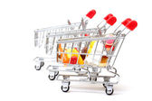Shopping Carts with Food — Stock Photo