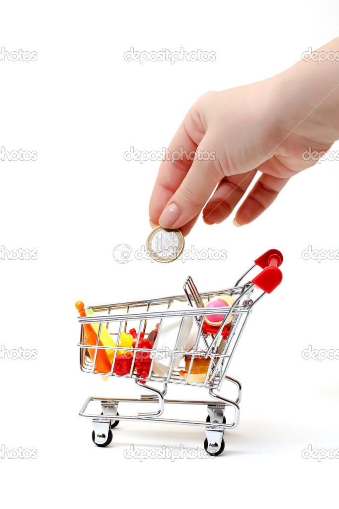 Shopping Cart with Hand and Coin on white background — Stock Photo #10626859