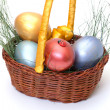 Royalty-Free Stock Photo: Colorful painted easter eggs in basket