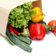 Grocery bag full of vegetables - Stock Photo