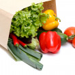 Grocery bag full of vegetables - Foto Stock