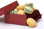 Colorful Macaron in paper box — Stock Photo