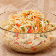 Coleslaw in glass bowl — Stock Photo