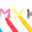 Sign of the CMYK from pastel crayons - Stock Photo