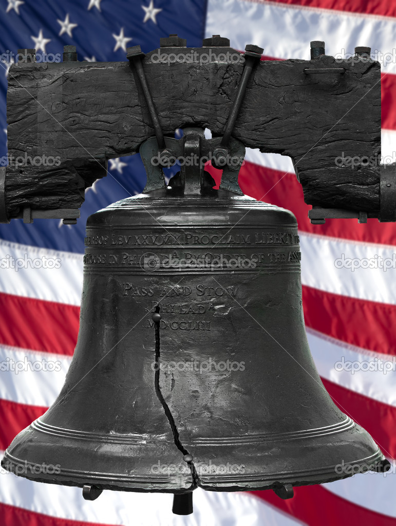 Isolated statue of the authentic Liberty Bell, Philadelphia, PA. The United States flag was digitally added to the background. — Stock Photo #10063970