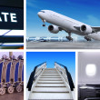 Collage of airport - Stock Photo
