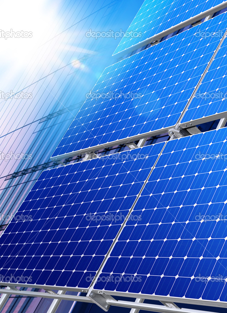 Solar panels on the roof of modern skyscraper — Stock Photo #8307711