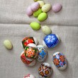 Easter Eggs on linen fabric - Stock Photo
