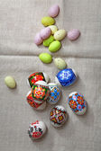 Easter Eggs on linen fabric — Stock Photo