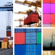 Collage of industrial cranes for cargo containers - Stock Photo
