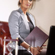 Businesswoman with folder — Stock Photo