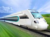 Super streamlined train on rail — Stock Photo