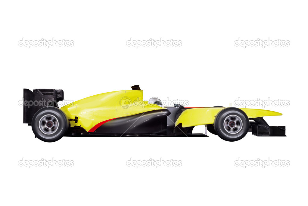 Formula one car with path isolated on white background  Stock Photo #8890198