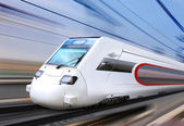 White super streamlined train — Stock Photo