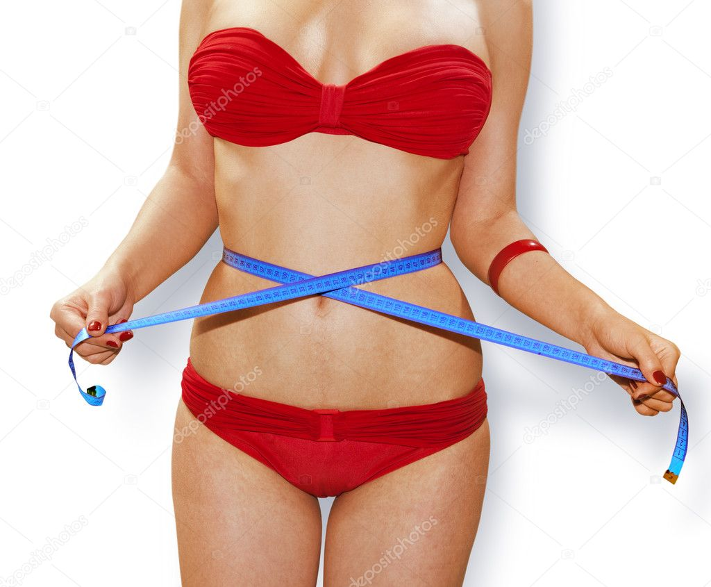 Woman measuring perfect shape of beautiful thigh with path, healthy lifestyles concept  Stock Photo #9008108