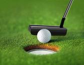 Closeup golf ball and tee — Stock Photo