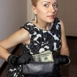 Woman with dollars — Stock Photo