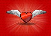Corazón volador — Vector de stock