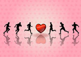 Heart runners — Stock Vector