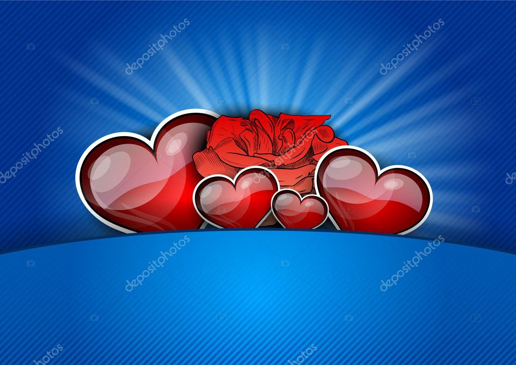 Heart with rose on the blue — Stock Vector #8871242