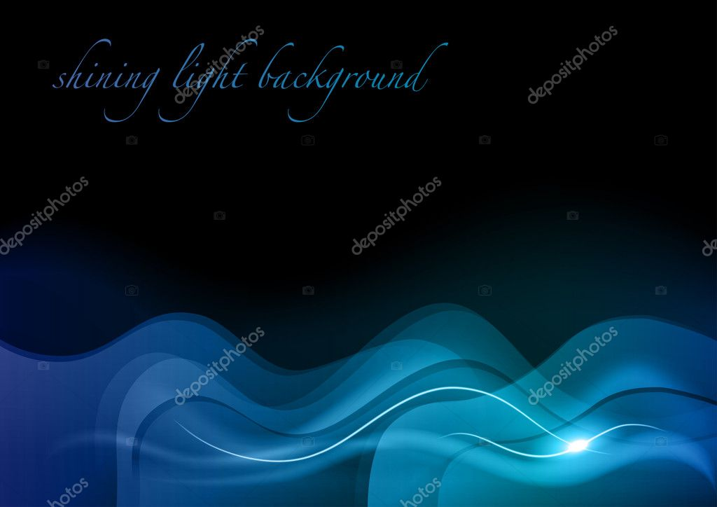 Blue wave abstract on the black background — Stock Vector #9487593