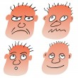Vector different facial expressions — Stock Vector