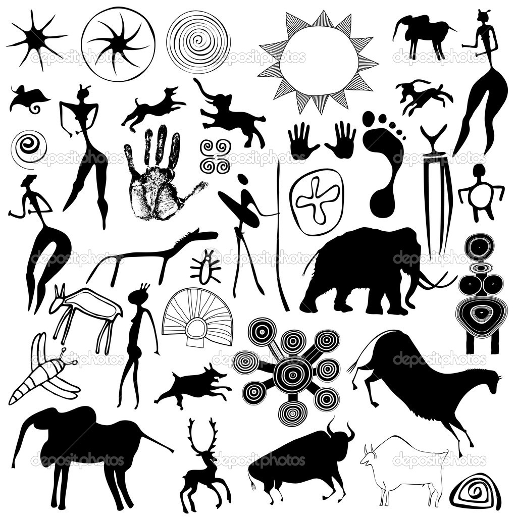 Various drawings - primitive art - cave paintings - vector — Stock Vector #8178726
