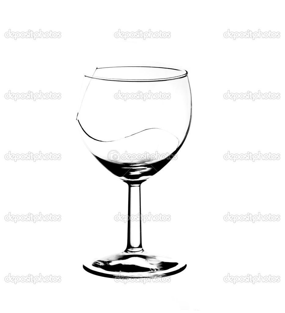 Detail of the broken wine glass - damaged glass — Stock Photo #8760788