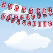 Unie jack bunting vlaggen — Stockvector