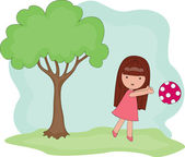 Playing outside girl — Stock Vector