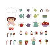 Cute dessert set — Stock Vector