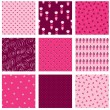 Vector de stock : Nine pink floral backdrops