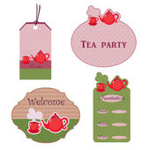 Cute stickers for tea time — Stock Vector