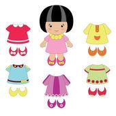 Маленькая девочка с ее одежда — Cтоковый вектор