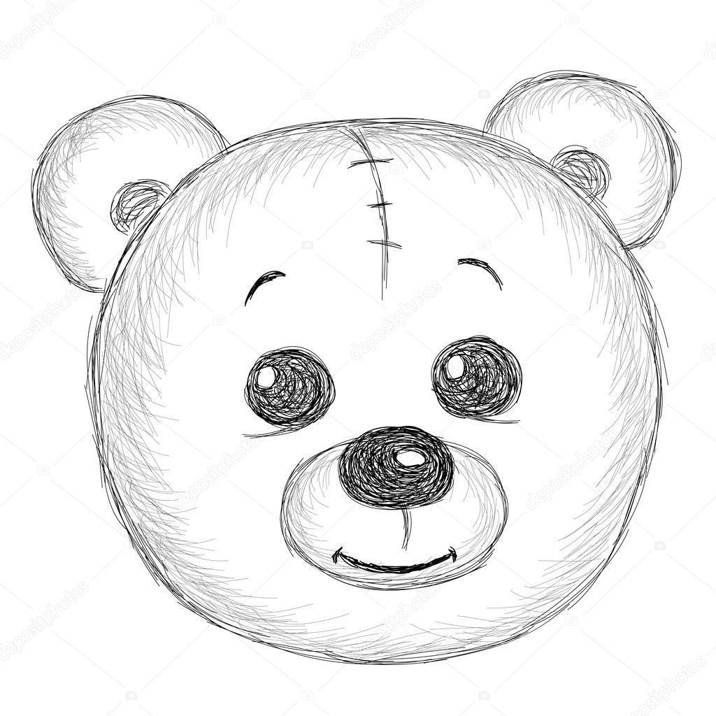 Teddy Bear Head Drawing Hand Drawn Vintage Teddy Bear
