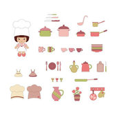 Cute kitchen ware set — Stock Vector